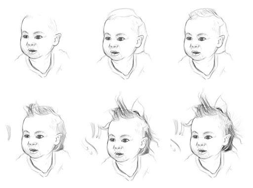 croquis de cheveux d'enfant