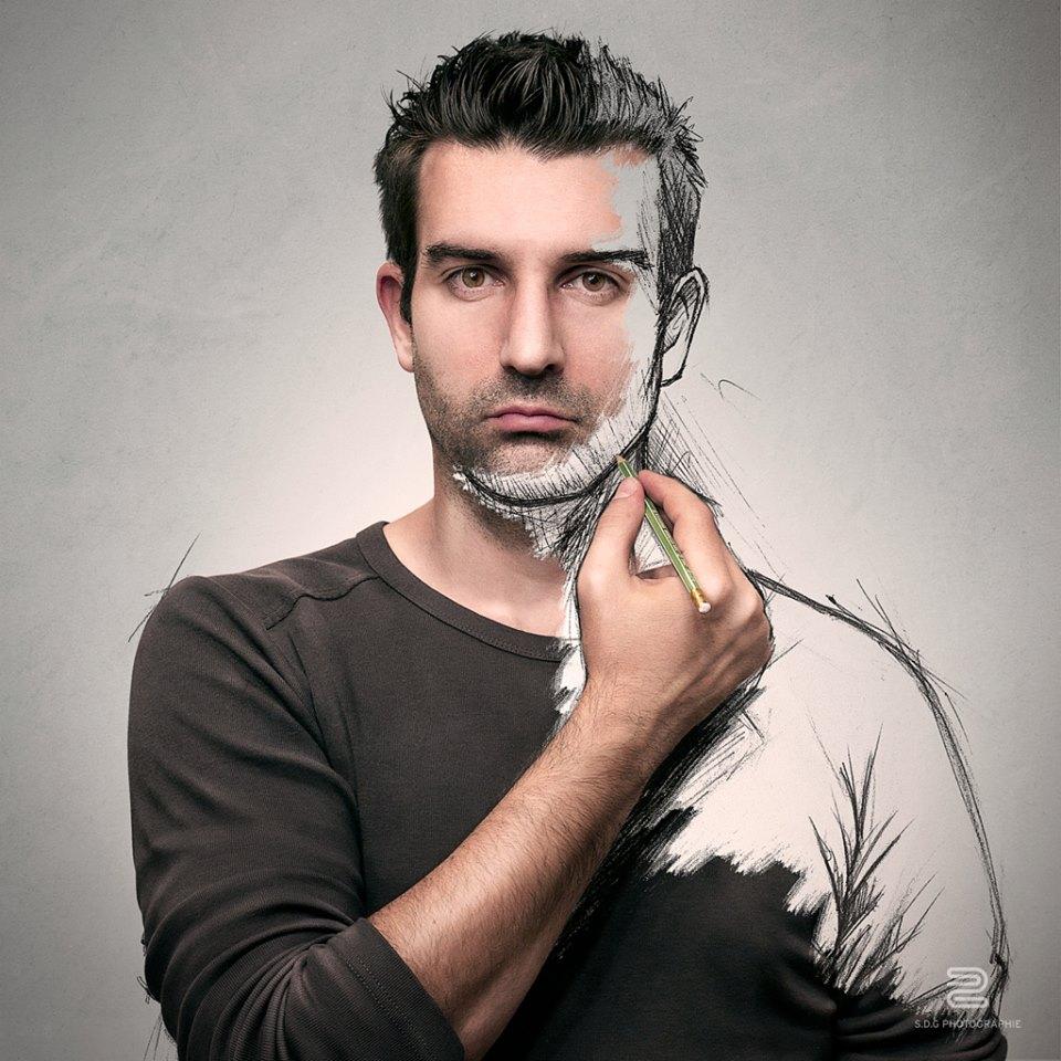 Montage photo-dessin de Sebastien Del Grosso