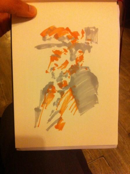 Un peu de gris pour dessiner ce portrait en couleur