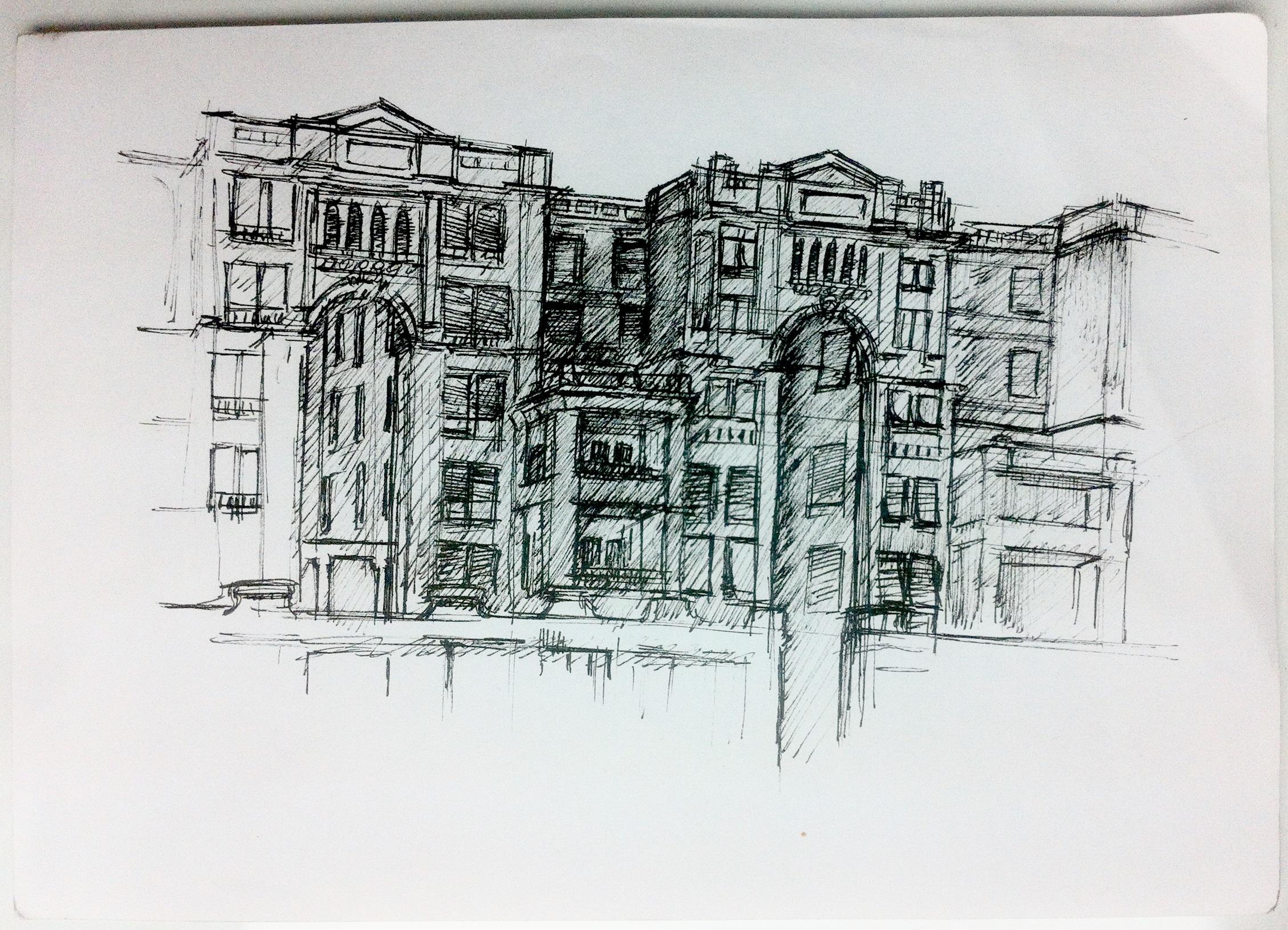 Un des dessins de Sliema durant mes premiers jours à Malte