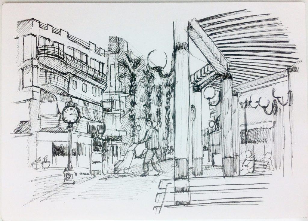 Un des dessins de la place principale de bugibba