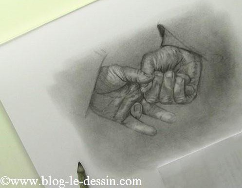 Une planche de mains réalisées au graphite ce matin.
