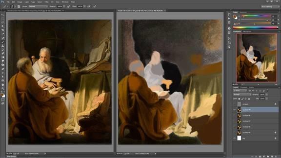 Une de mes études en cours avec un effet huile après réalisation d'un croquis – Rembrandt – Two Old Men Disputing