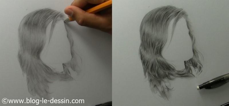 Une illustration pour vous montrer qu'il faut dessiner des cheveux plus contrastés que ce que vous voyez sur votre modèle.