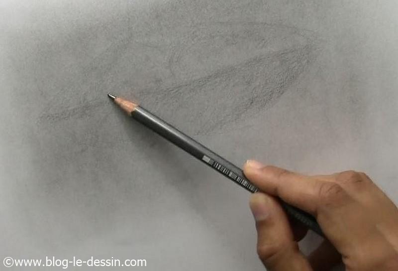 J'ébauche avec mon crayon sur un fond créé avec la poudre de graphite.
