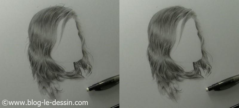 dessiner cheveux realistes comparaison frisotis