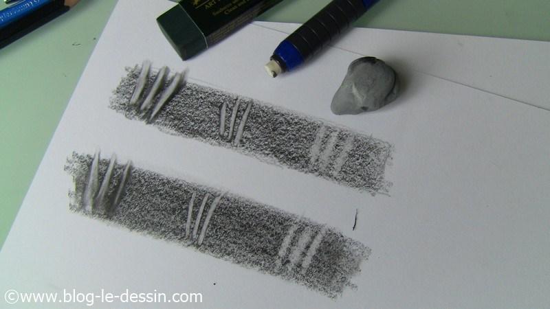 Vous voyez que les gommes vinyles donnent des contours sombres avant d'effacer le graphite, ce qui n'est pas le cas de la gomme mie de pain.