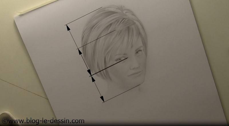 Les mesures que j'obtiens en remesurant mon portrait au crayon. On voit que les cheveux ont une taille trop importante.