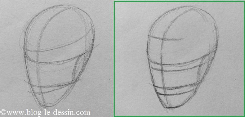 planche comment dessiner un visage de trois quarts forme oeuf