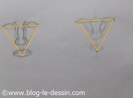 dessiner un visage proportions base triangle