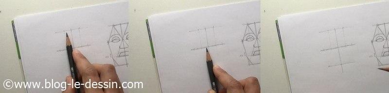 dessiner visage face triangle nez et bouche
