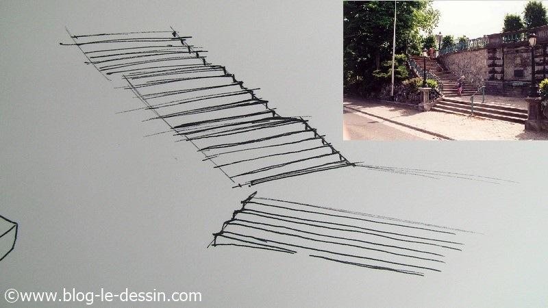Dessiner un escalier en perspective remplissage
