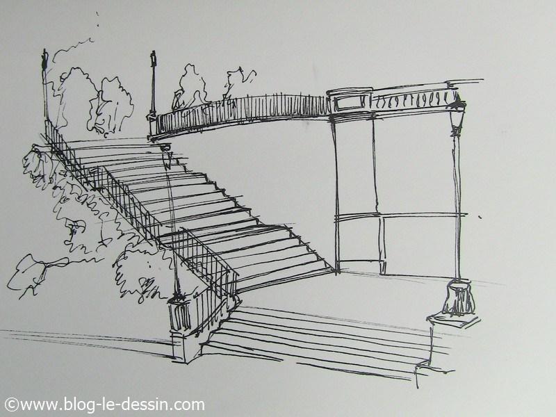 dessiner un escalier en perspective main lev e. Black Bedroom Furniture Sets. Home Design Ideas