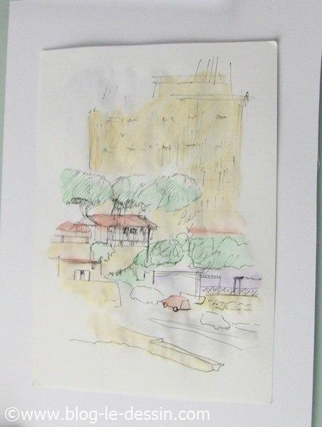 croquis aquarelle rue