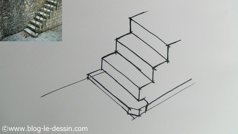les tapes pour dessiner un escalier simple. Black Bedroom Furniture Sets. Home Design Ideas