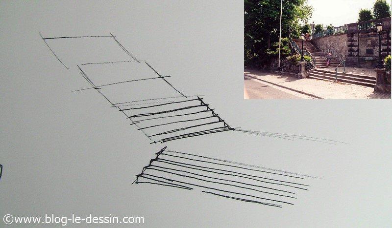 dessiner escalier en perspective division marches