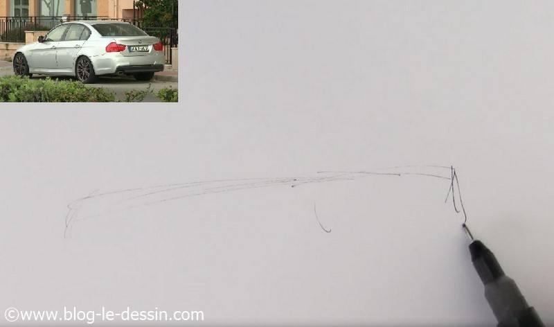 dessiner voiture sportive ligne mediane