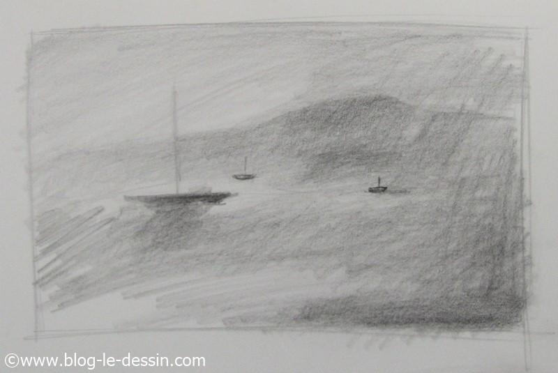 illustration pour dessiner la brume dans un paysage au crayon graphite