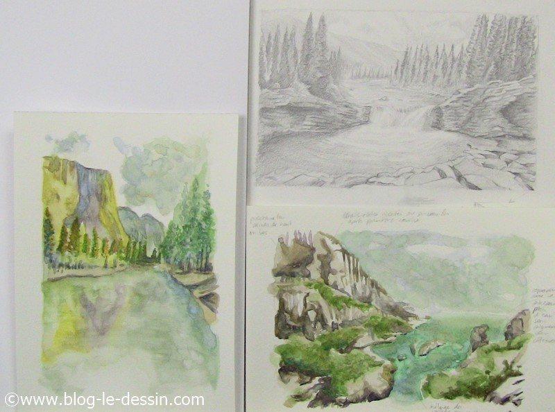 Une illustration ou je vous montre les derniers essai de dessin aquarelle fait apres 10 jours