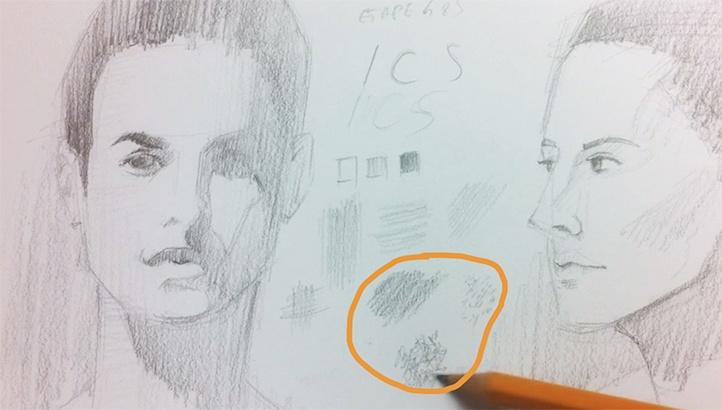 règle des 3 avec le rendu pour un dessin de portrait