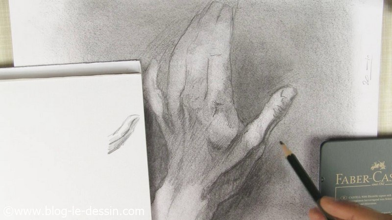 tendons relief dessin mains graphite ouverte dos