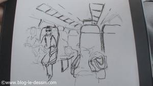 perspective wagon train croquis feutre