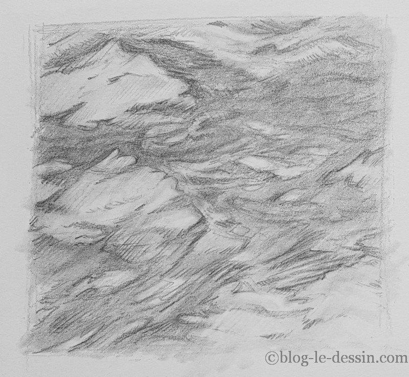 Un autre résultat pour achever le dessin de l'eau réaliste avec le crayon graphite.