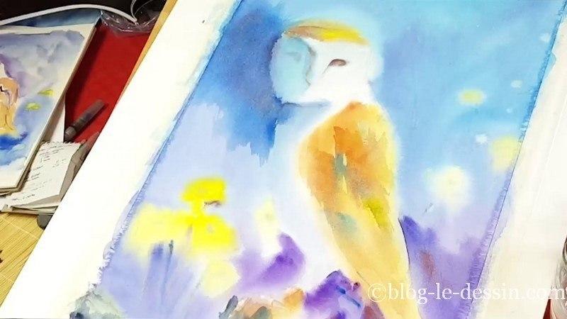 avant derniere etape pour peindre une aquarelle et ajouter le details
