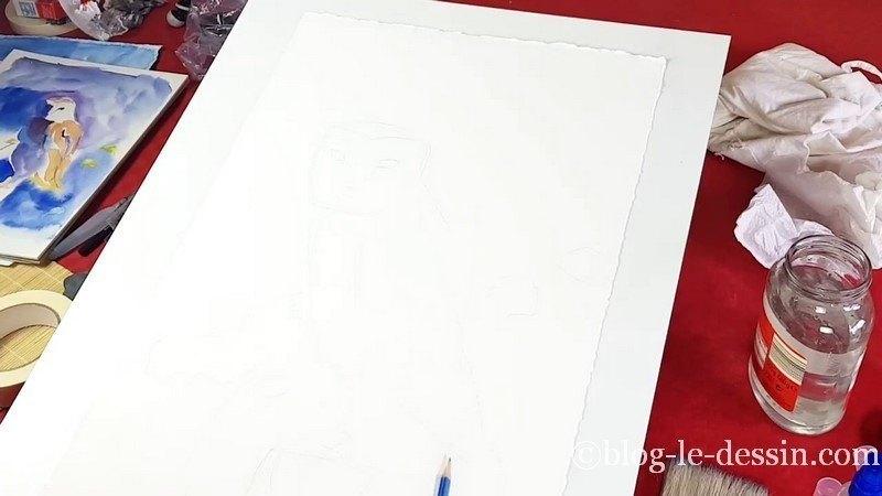second croquis au graphite HB pour preparer la peinture