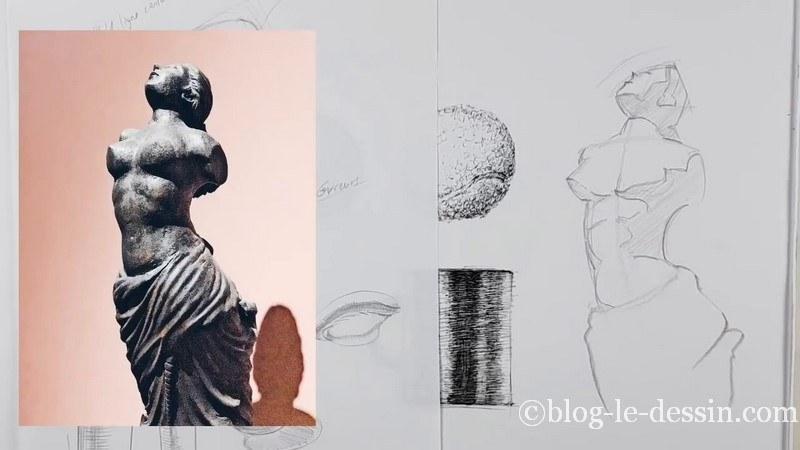 esquisse ligne ombre statue dessin crayon
