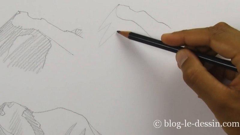 esquisse montagne crayon arete et pic