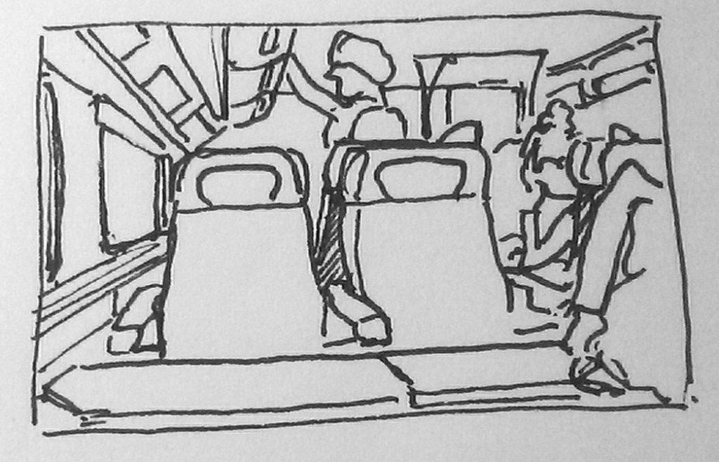 dessiner dans le bus