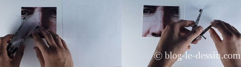 Deux images montrant les étapes du report de proportions du modèle vers la feuille de dessin