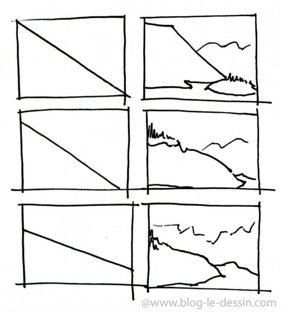 composition simple en diagonale