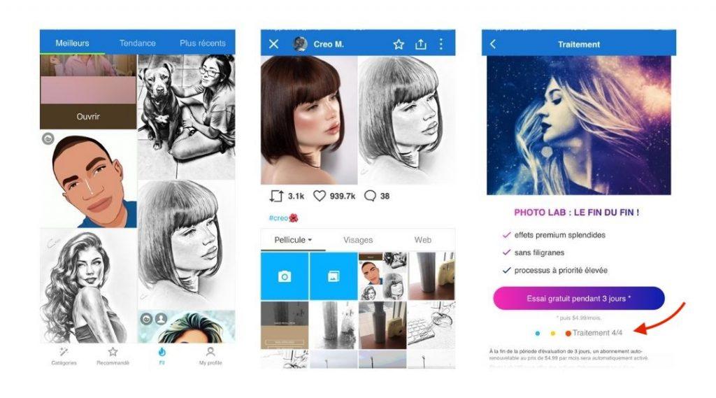 application photo vers dessin