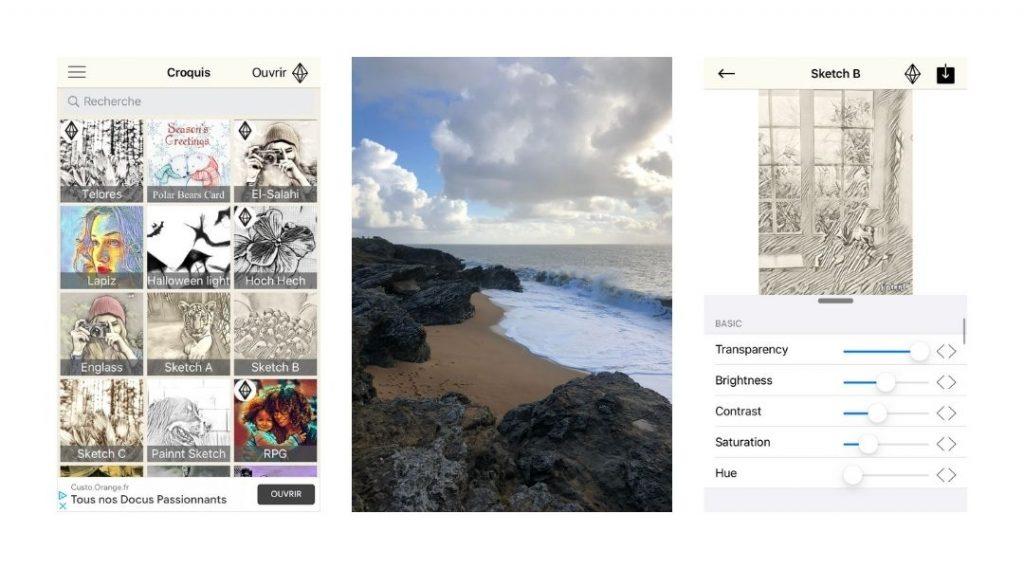 application photos vers dessins